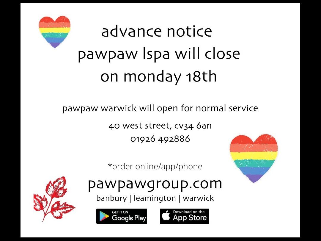 pawpaw leamington closed jan 18