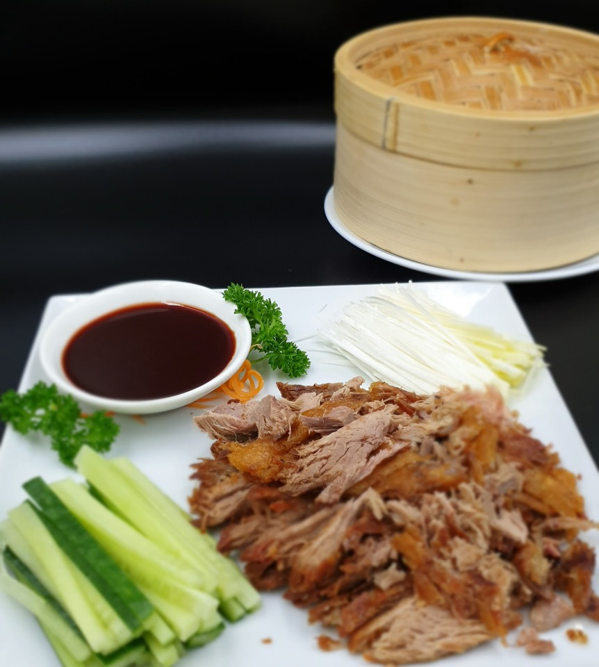 chinese crispy shredded duck with pancakes available at pawpaw chinese restaurants and takeaways